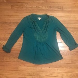 Anthropologie Meadow Rue green l/s shirt - Medium